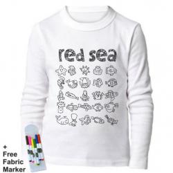 بلوزة ذات أكمام طويلة للتلوين  بتصميم البحر الأحمر للأطفال من عمر 5- 6 سنوات من ملبس