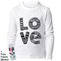 بلوزة ذات أكمام طويلة للتلوين بتصميم كلمة لوف للأطفال من عمر 12-13 سنة من ملبس