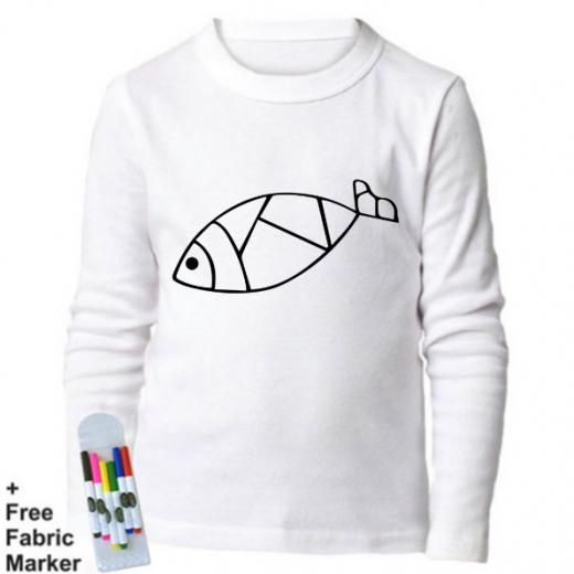 بلوزة ذات أكمام طويلة للتلوين  بتصميم صورة سمكة للأطفال من عمر 3-4  سنوات من ملبس