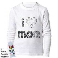 Mlabbas I Love Mom Kids Coloring Long Sleeve Shirt  5-6 years