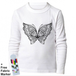 Mlabbas Butterfly Kids Coloring Long Sleeve Shirt 7-8 years