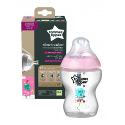 Tommee Tippee Closer to Nature 260ml Decorated Bottle, Girl, +0 months