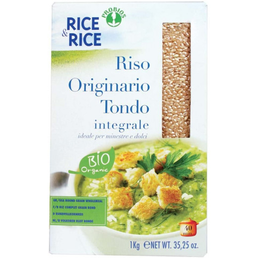 Probios Rice&Rice Originario Round Whole Grain Rice, 1 kg,