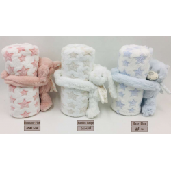 NOVA Baby Blanket With Toys -  Elephant 75x100CM -Pink