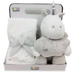 NOVA Blanket With Toys - Unicorn 75x75CM  - Off-white