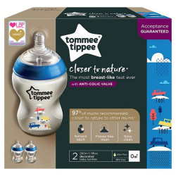 Tommee Tippee Closer to Nature Baby Bottle Decorated Blue, X2 Bottles, 260 ml