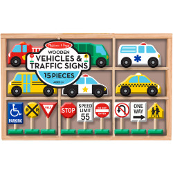 Melissa & Doug Wooden Vehicles and Traffic Signs