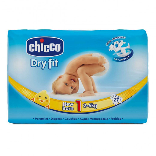 Chicco Dry Fit Diapers Size 1 Newborn 2-5 Kg 27 PCS