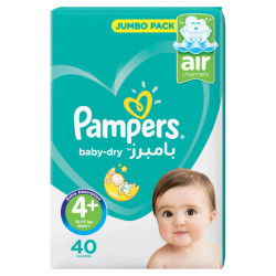 Pampers Active Baby Dry Diapers, Value Pack, Maxi Plus, Size 4+, 9-16 kg, 40 Diapers