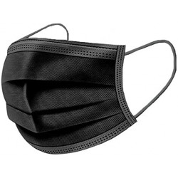 Baby Life Disposable Face Masks for General Use, Case of 50 Masks, Black