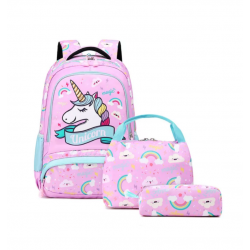 Genioworld 3pcs Students Unicorn Bookbag Set - Pink-Purple