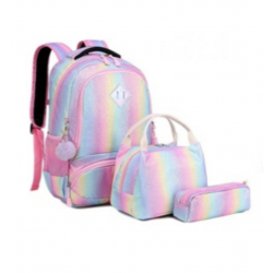 Genioworld 3pcs Students Unicorn Bookbag Set - Rainbow