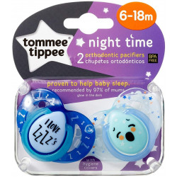 Tommee Tippee Orthodontic Pacifiers Night 6-18 months, 2 pieces