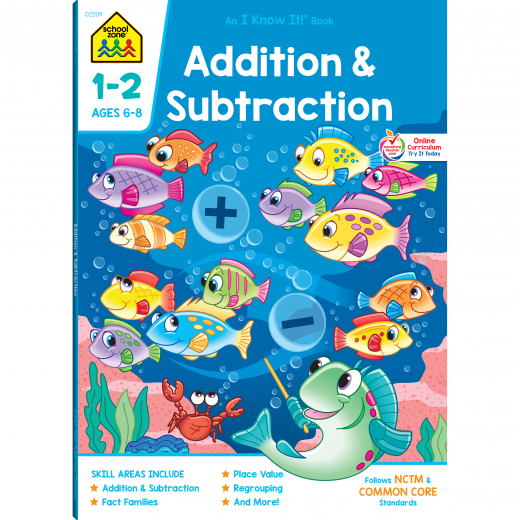 School Zone Addition & Subtraction 1-2 Workbook