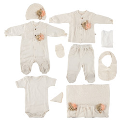 10 pieces Hospital Set for 0-3 months, Beige with Lace