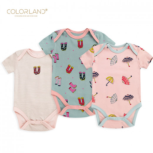Colorland - (6) Baby Bodysuit 3 Pieces In One Pack, 6-9 Months, Winter