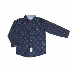 Navy Long- Sleeves Shirt With White Dots for Boys 6-9 Months