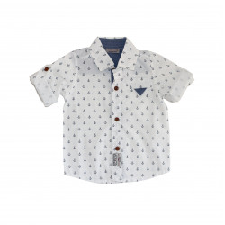 White Long- Sleeves Shirt With Sailors Design for Boys 18-24 Months