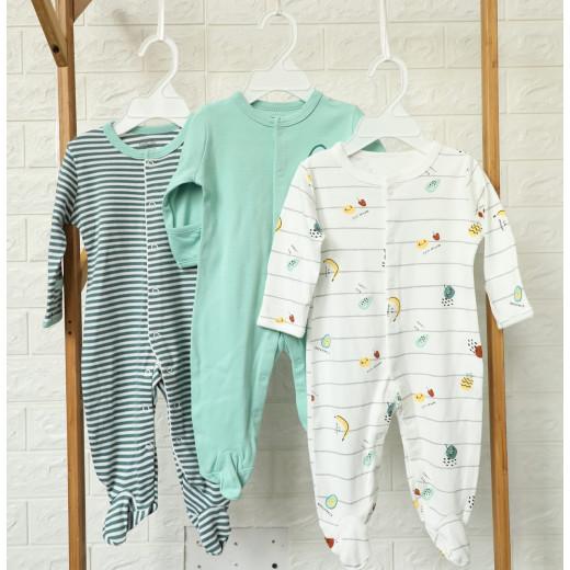 قطع ملابس طويلة الأكمام للأطفال  3 قطع في عبوة واحدة 3-6 أشهر من كالور لاند, فواكه