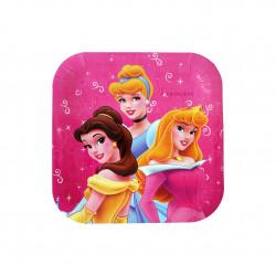 أطباق مربعة يمكن التخلص منها للأطفال ، بتصميم اميرات ديزني باللون الزهري، 10 قطع