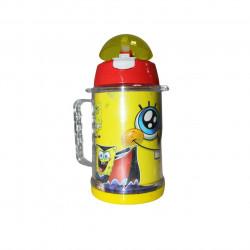 زجاجة مياه مع مصاصة بتصميم  سبونجبوب، أصفر، 600 مل