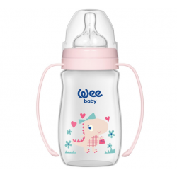Wee Baby Classic Plus Wide Neck PP Bottle with Grip 250 ml, Pink