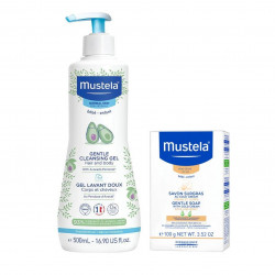 عرض موستيلا (جل منظف للشعر والجسم خالي من الصابون 500 مل + صابون لطيف بالكريم البارد 100 جم)
